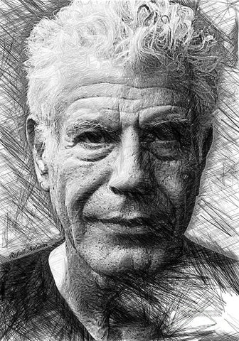 Anthony Bourdain - Ink Drawing - Art Print