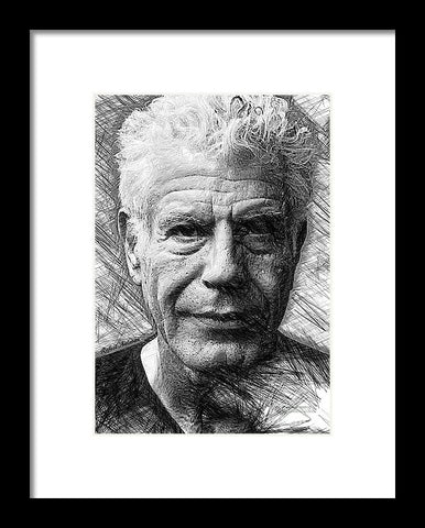 Anthony Bourdain - Ink Drawing - Framed Print