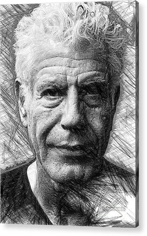 Anthony Bourdain - Ink Drawing - Acrylic Print