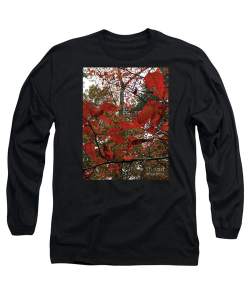 Long Sleeve T-Shirt - Autumn Leaves In Red