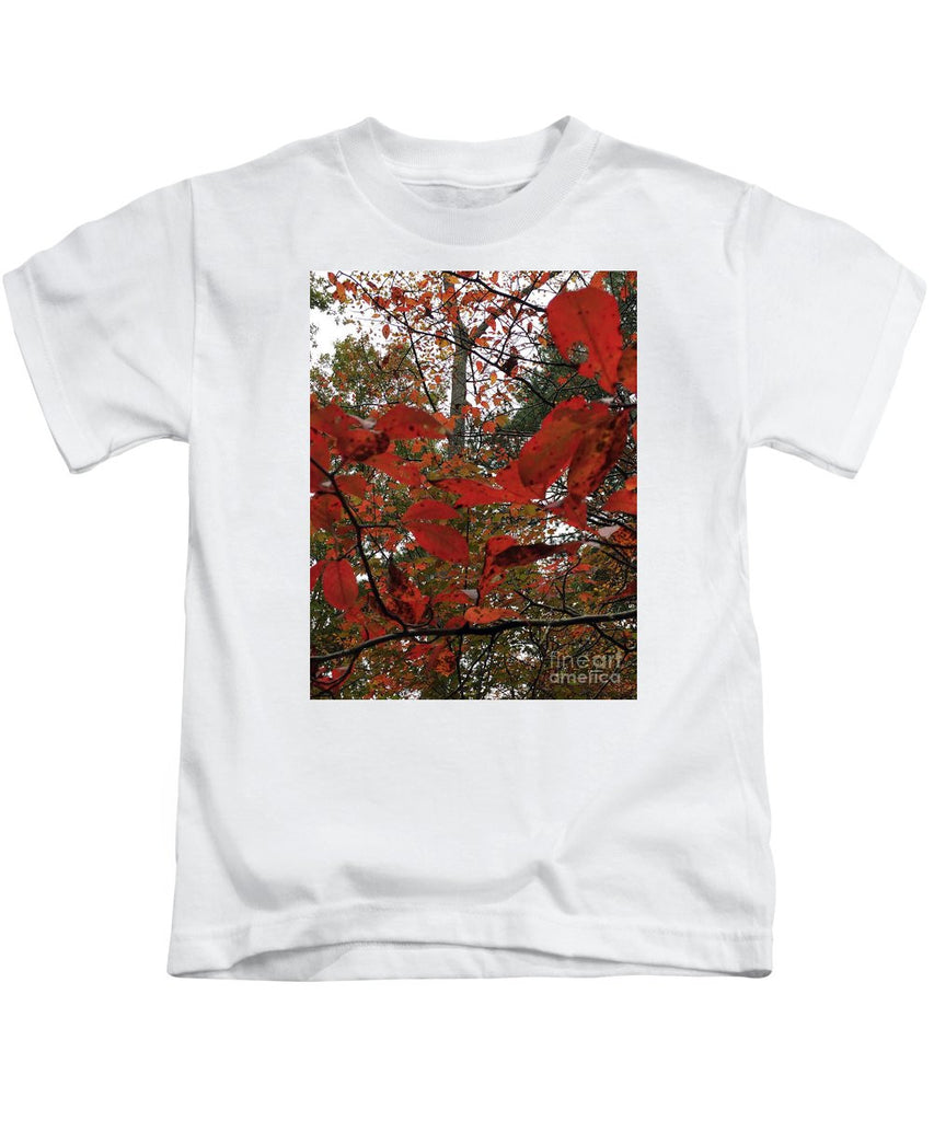 Kids T-Shirt - Autumn Leaves In Red