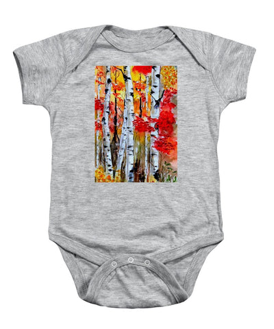 Birch Trees In Fall - Baby Onesie