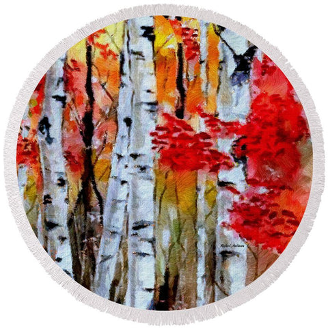 Birch Trees In Fall - Round Beach Towel
