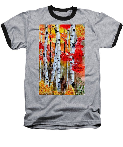 Birch Trees In Fall - Baseball T-Shirt
