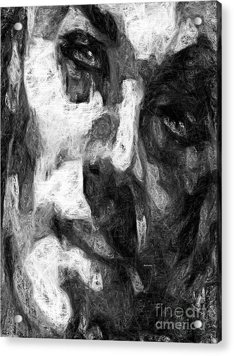 Acrylic Print - Black And White Male Face