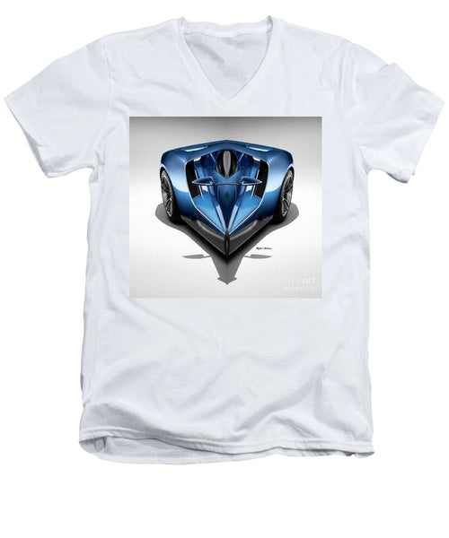 Men's V-Neck T-Shirt - Blue Car 002