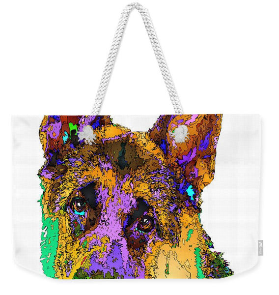 Weekender Tote Bag - Bogart The Shepherd. Pet Series