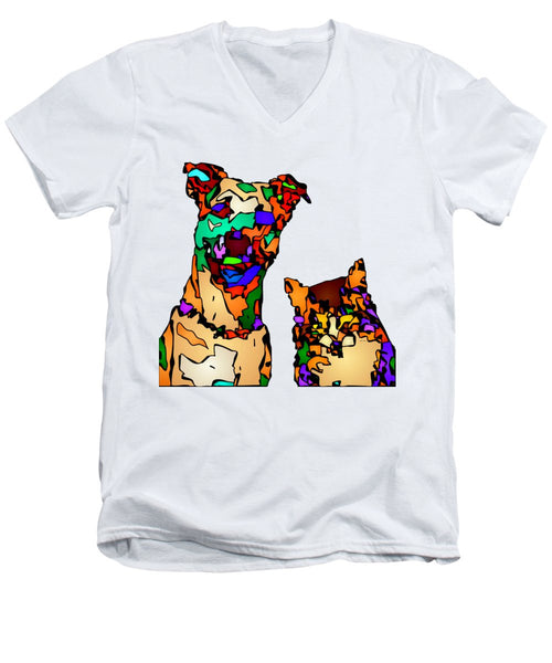 Men's V-Neck T-Shirt - Buddies For Life. Pet Series