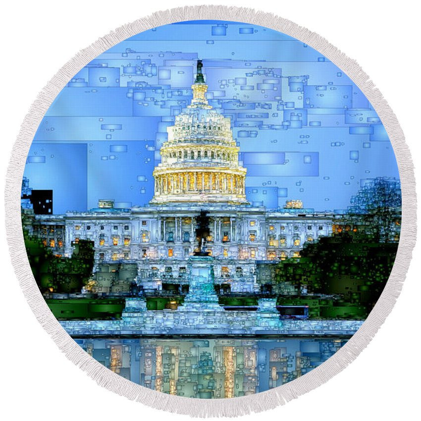 Round Beach Towel - Capitol In Washington D.c