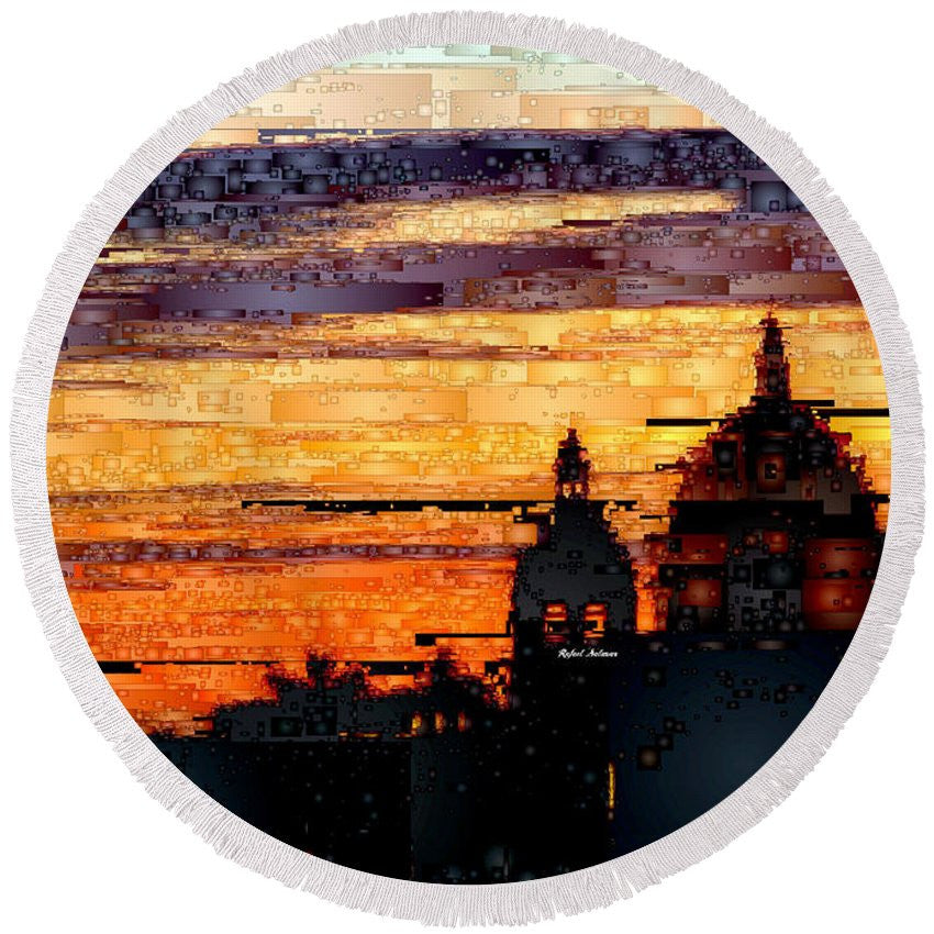 Round Beach Towel - Cartagena Colombia Night Skyline