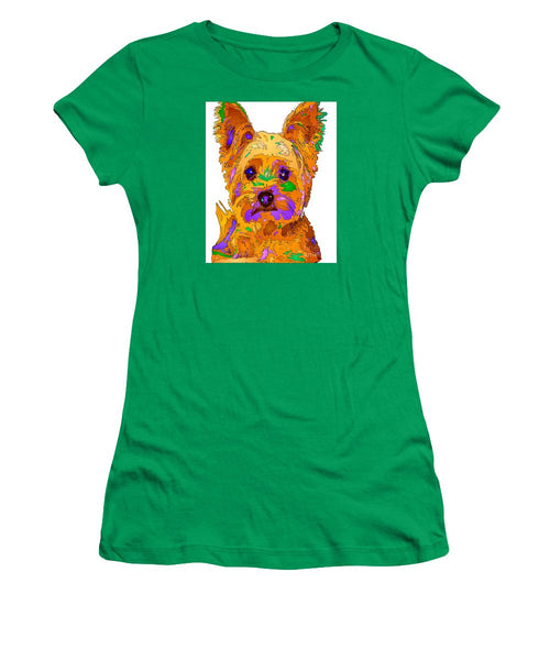 Women's T-Shirt (Junior Cut) - Cupcake The Yorkie. Pet Series