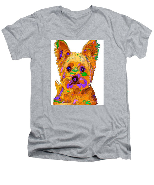 Men's V-Neck T-Shirt - Cupcake The Yorkie. Pet Series