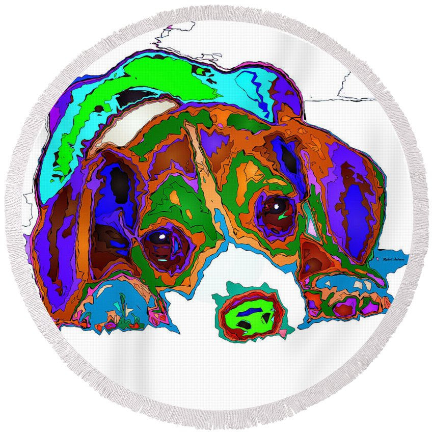 Round Beach Towel - Do You Want To Take A Nap? Pet Series