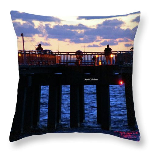 Throw Pillow - Early Fishing