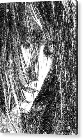 Acrylic Print - Female Drawing Sketch