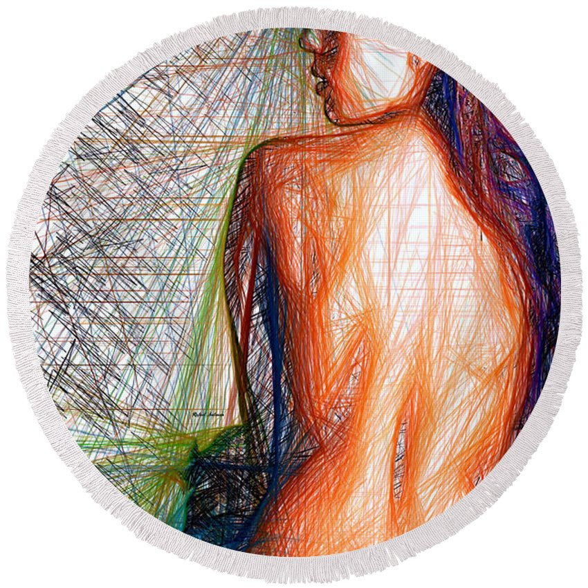 Round Beach Towel - Female Figure