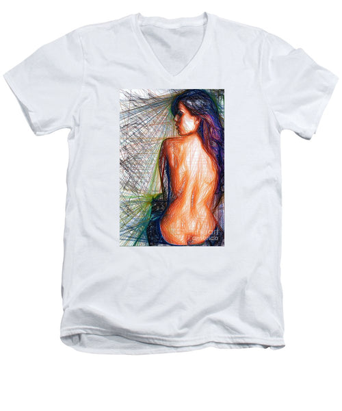 Men's V-Neck T-Shirt - Female Figure