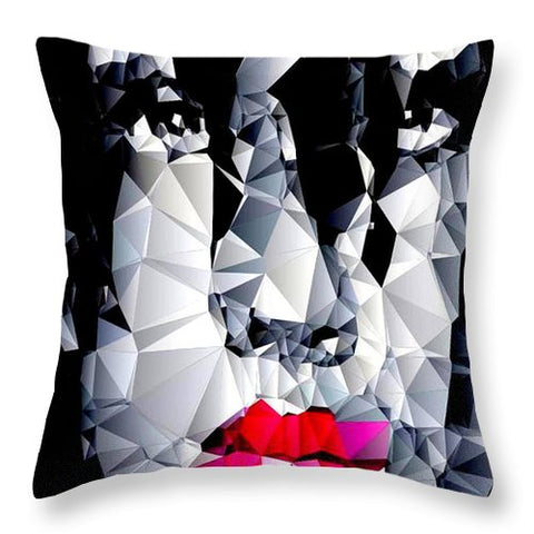 Female Portrait In Black And White - Throw Pillow