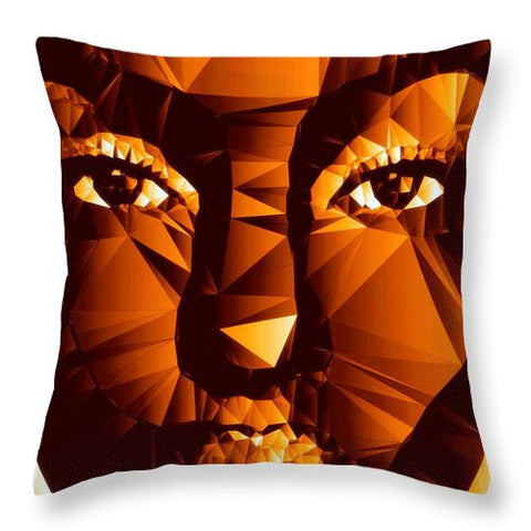Female Portrait In Brown - Throw Pillow