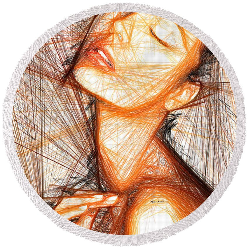Round Beach Towel - Female Portrait