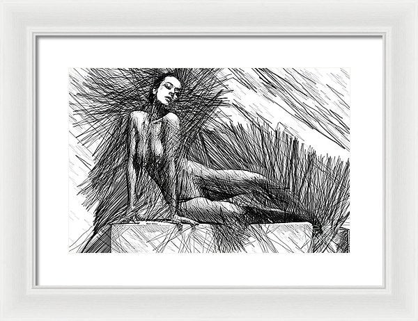 Framed Print - Female Pose For Studio Drawing 1447