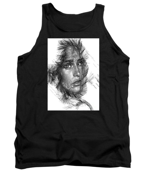 Tank Top - Female Sketch In Black And White
