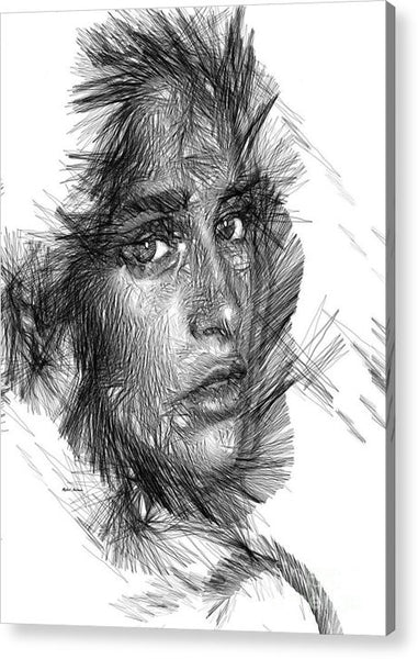 Acrylic Print - Female Sketch In Black And White