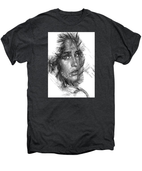 Men's Premium T-Shirt - Female Sketch In Black And White