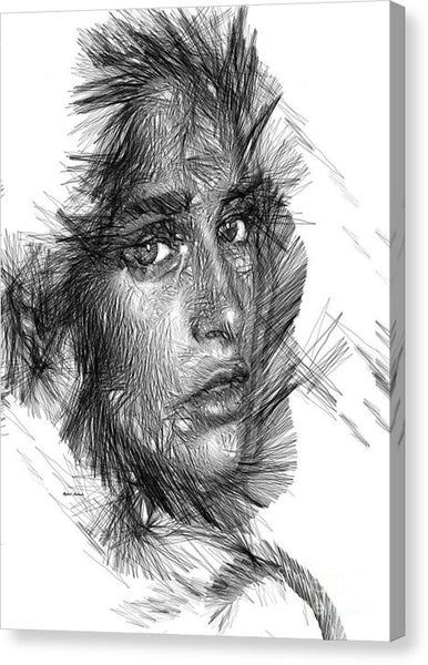 Canvas Print - Female Sketch In Black And White