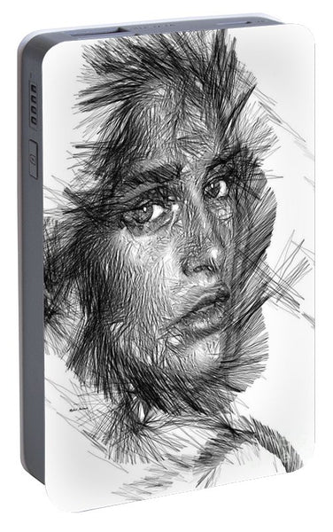 Portable Battery Charger - Female Sketch In Black And White