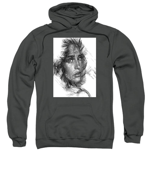 Sweatshirt - Female Sketch In Black And White