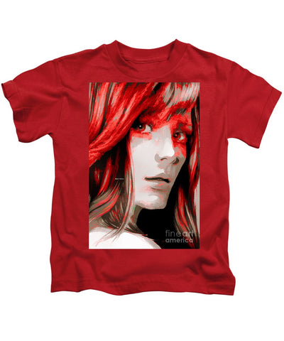 Kids T-Shirt - Female Sketch In Red