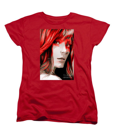Women's T-Shirt (Standard Cut) - Female Sketch In Red