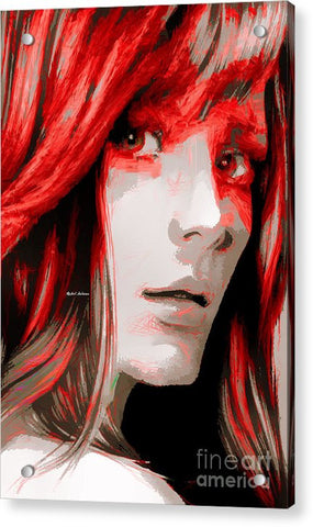 Acrylic Print - Female Sketch In Red