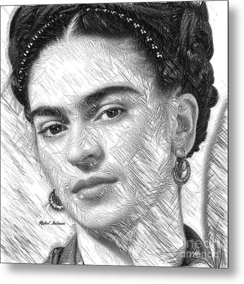 Frida Drawing In Black And White - Metal Print