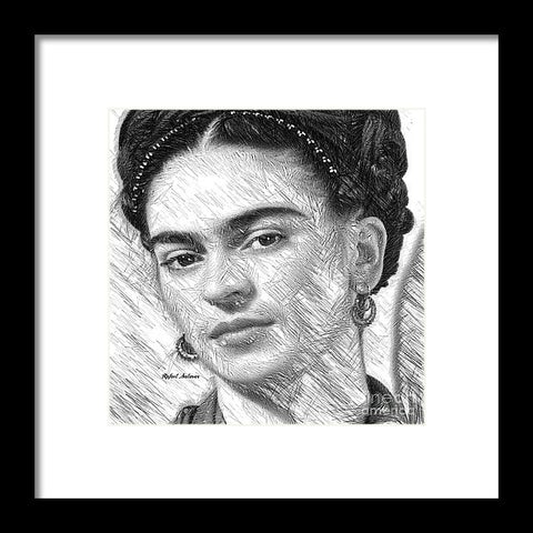 Frida Drawing In Black And White - Framed Print