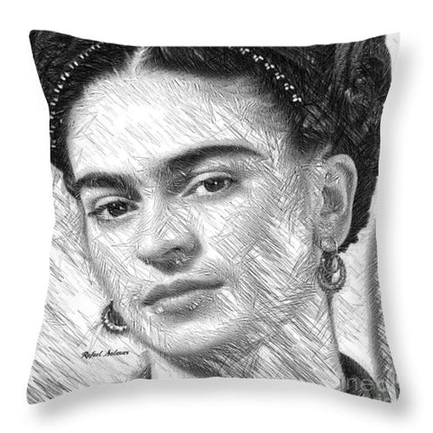 Frida Drawing In Black And White - Throw Pillow