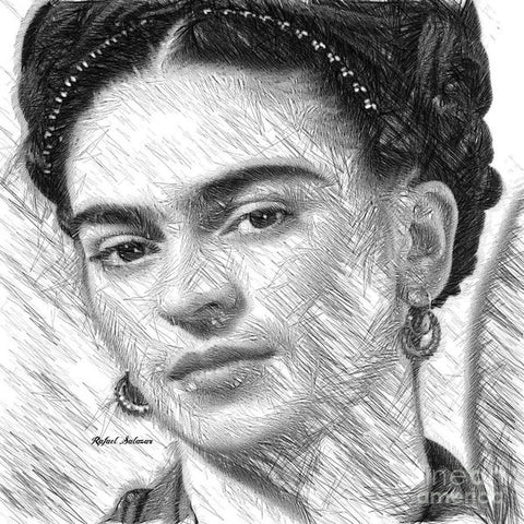 Frida Drawing In Black And White - Art Print