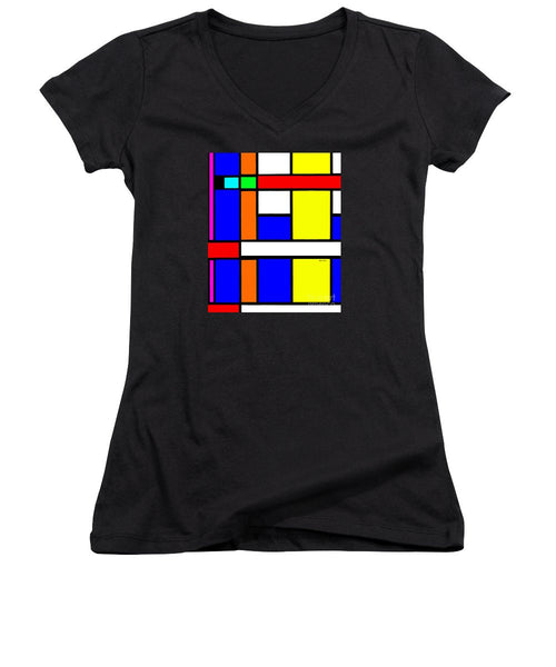 Women's V-Neck T-Shirt (Junior Cut) - Geometric 9706