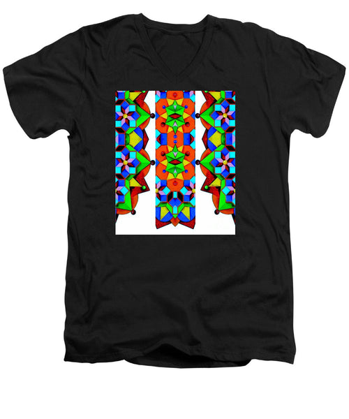 Men's V-Neck T-Shirt - Geometric 9741a