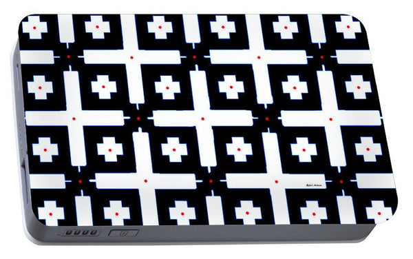 Portable Battery Charger - Geometric In Black And White