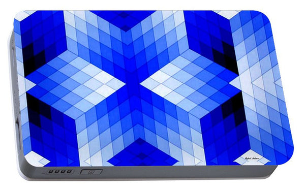 Portable Battery Charger - Geometric In Blue