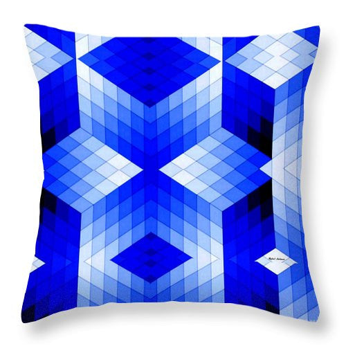 Throw Pillow - Geometric In Blue