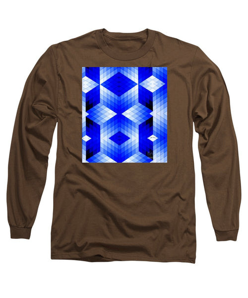 Long Sleeve T-Shirt - Geometric In Blue