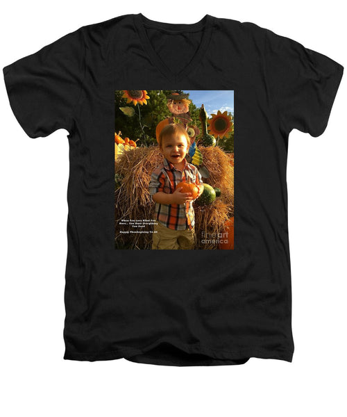 Men's V-Neck T-Shirt - Happy Thanksgiving To All
