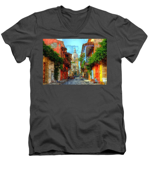 Men's V-Neck T-Shirt - Heroic City, Cartagena De Indias Colombia