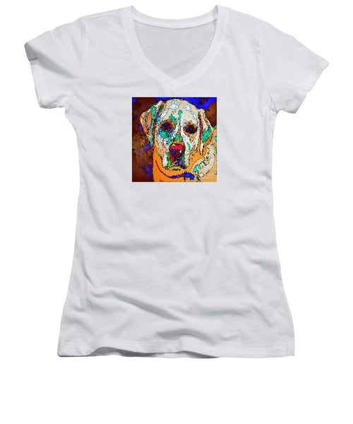 Women's V-Neck T-Shirt (Junior Cut) - I Love You. Pet Series