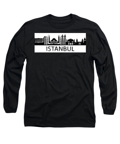 Long Sleeve T-Shirt - Istanbul Silhouette Sketch In Black And White