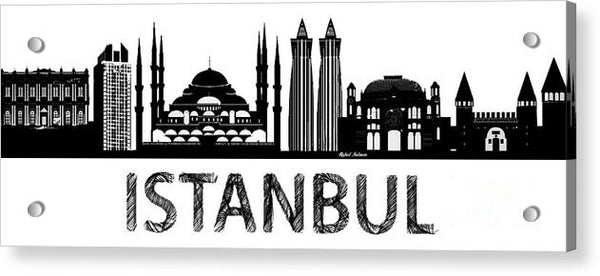 Acrylic Print - Istanbul Silhouette Sketch In Black And White