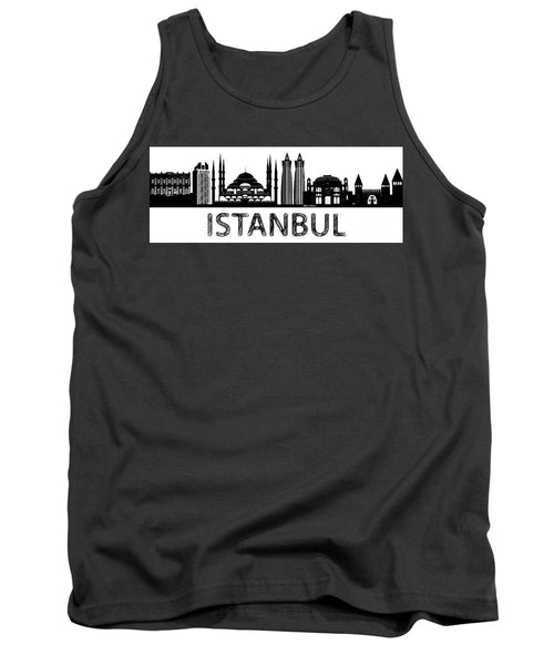 Tank Top - Istanbul Silhouette Sketch In Black And White